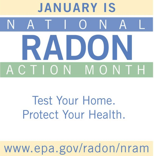 Graphic promoting January is National Radon Action Month.
